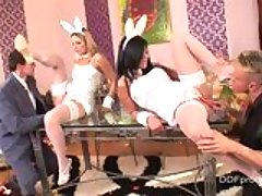 Nasty bunnies Debbie White and Madison Parker prepares for some group action