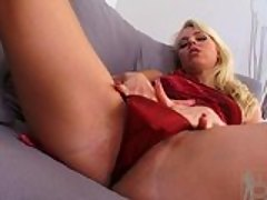 Blonde nympho Stella Hot slipping her fingers in her panties