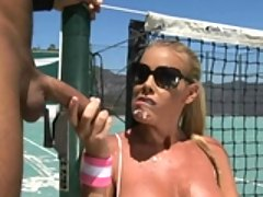 Sexy Nicole Sheridan gets fucked hard and jizzed in a tennis court