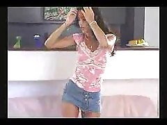 Sexy latine girl with short shorts dancing