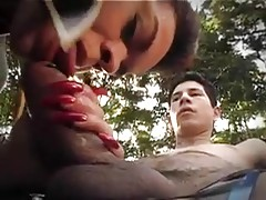 Busty dom in latex invited teen to fuck in forest