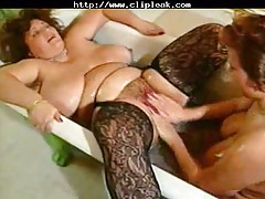 Old Bbw Slut Eating Big Tits