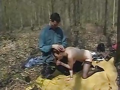 Two Hungry Guys Catch Dirty Hooker In Forest And Fuck Her Hard