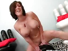 Brunette babe rides a sybian until she gets an orgasm