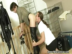 Dominatrix is sucking the cock