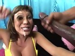 Cum loving slut Ava Devine gets awesomely sprayed with jizz on her lusty face