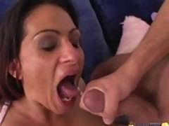 Ava Lauren gets a hot jizz on her big mouth