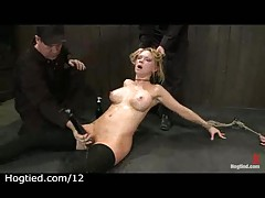 Hogtied babes get toyed
