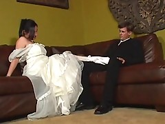 Big bride is threesomed in her wedding dress